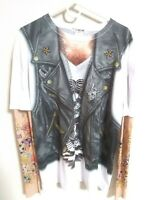 FAUX REAL BIKER VEST MOTORCYCLE TATTOO ARMS SHIRT, LIVE FREE RIDE FREE, NEW XL