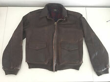 MENS BROWN LEATHER RRL A2 FLYING JACKET SZ SMALL PILOT AVIATOR RALPH LAUREN POLO