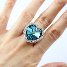 Bermuda Blue Large Heart Crystal Statement Cocktail Ring Heart of The Oceans
