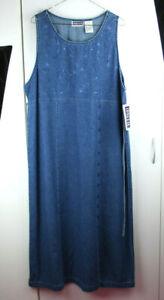 NWT Vintage Erika & Co Women's Embroidered Denim Dress Size XL