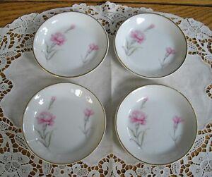 "Vintage Fine China Royal Court Japan CARNATION 4"" Butter Pats Pink ~ Set of 4 ~"