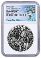2017-P Tuvalu Norse Goddesses Freya HR 2 oz Silver Antiqued $2 NGC PF69 SKU51501