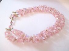 FACETED PINK CRYSTAL A/B W/GLASS FLOWERS 2 STRANDS NECKLACE-809