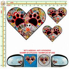 herts stickers bomb mirror helmet moto adesivo cuore orme cane serbatoio 3 pz