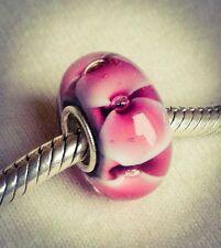 Midnight Poppy Pink / Red & Black 925 Silver Core Glass Flower Bead Charm UK
