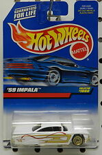 WHITE 1000 GOLD WIRE PIN STRIPED 59 1959 CHEVY IMPALA 1999 MATTEL HW HOT WHEELS