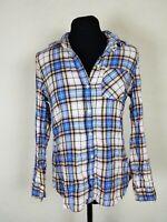 Gap Womens Size Small Flannel Top Plaid Button Down Blouse Blue White Shirt S