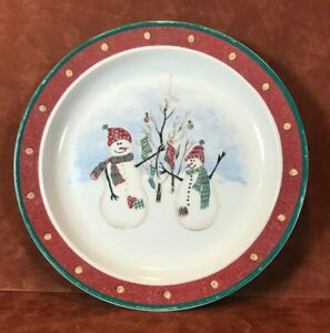 "Royal Seasons Stoneware 10.2"" Dinner Plate Snowmen /Christmas Red / Green Used"