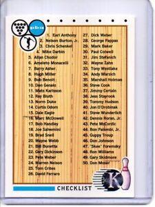 1990 PBA BOWLING CARD #100 CHECKLIST 1-100