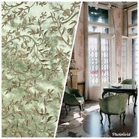 SALE! Designer 100% Silk Taffeta Dupioni Embroidery Floral Fabric - Mint Green