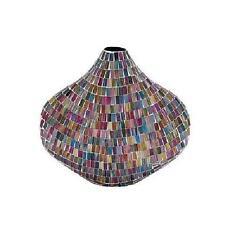 Mosaic Lava Glass Vase Purple Lavendar Gold Aqua Blue Eclectic New