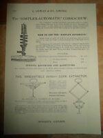 Vintage Corkscrew Images Copy Print L Lumley /& Co Minories London #604