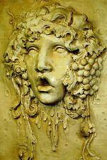 Huge Mythical Sculpture Bacchus Wine God Home Wall Plaque Decor Antique Finish
