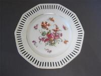 "Carl Schumann Bavaria Antique Reticulated 7"" Plate B Floral 1900 Green Mark EXC"
