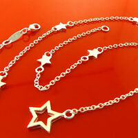 FSA915 GENUINE REAL 925 STERLING SILVER S/F LADIES STAR PENDANT NECKLACE CHAIN