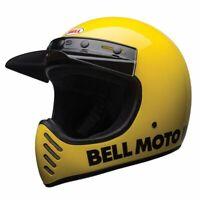 Casque moto cross vintage BELL Moto-3 classic jaune