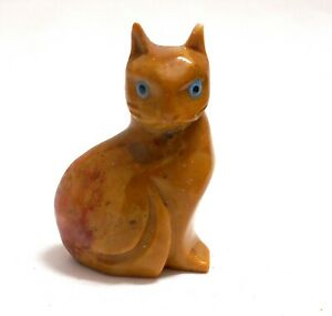 chat en stéatite miniature de collection, cat, poes,chat en pierre   TP12-11