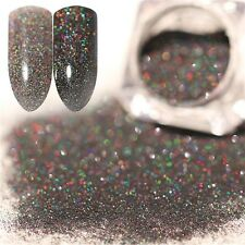 Graphite dark silver holo laser Nail art Fine Glitter for acrylics UV Polish 3ml