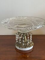 Antique Cut Glass Crystal Centerpiece Bowl w/ Dangling Crystal w/ Marble Base