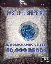 White Foam Styrofoam Micro Floam Beads for Slime DIY GIFTHolographic Blue Glit3D