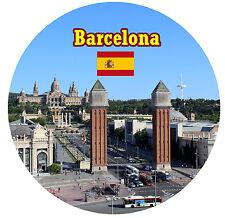 BARCELONA,ESPAÑA MONUMENTOS/BANDERA REDONDO ORIGINAL RECUERDO IMÁN DE NEVERA