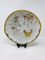 Vintage Hand Painted in Japan Plate Gold, Floral with Butterfly