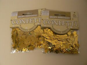 Amscan Golden Anniversary Embossed Confetti 2 Pack Gold 0.5 Oz. Party 50 Years