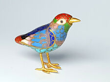 More details for antique cloisonne enamel gilded metal small bird figurine.