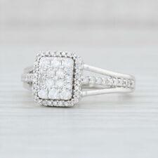 0.36ctw Pave Diamond Halo Engagement Ring 10k White Gold Size 6