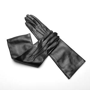Handmade Women's Napa Leather Lambskin Black Long Gloves