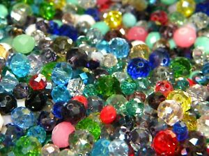 NEW 300/Pc LOT 6-10mm RONDELLE GLASS Faceted Czech, AB  Beads Mixed colors