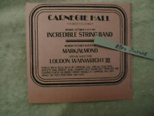 Incredible String Band / Mark Almond 1972 concert ad Carnegie Hall NY