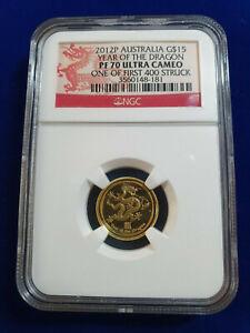 🌟2012 AUSTRALIA 1/10 OZ GOLD $15 DRAGON LUNAR PF70 ULTRA CAMEO FIRST 400.