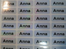 1500 Sparkle Silver Personalized Waterproof Name Stickers 0.9 x 2.2 cm Labels