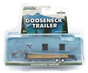 1:64 GreenLight *HITCH & TOW* BLACK *GOOSENECK* 5th Wheel FLATBED TRAILER NIP!