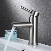 Stainless Steel Bathroom Sink Faucet Single hole Brushed Nickel Basin Mixer Tap
