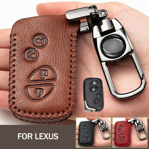 X AUTOHAUX Brown Silver Tone Zinc Alloy Leather 3 Buttons Remote Key Cover Holder Fob Keychain for Lexus ES350 2007-2012