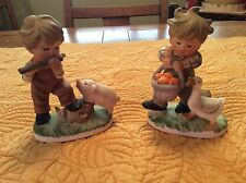 """ROYAL CROWN Porcelain CHILD LIFE Hand Painted #33/325 Boy Figurine's Pair 5"""""""