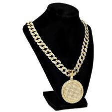 """Big Medallion Cuban Link Necklace Gold Finish 24"""" Inch Hip Hop Iced-Out Chain"""