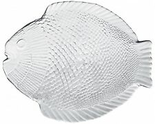 Pasabahce Marine 6 PC Set Crystal Clear Glass Fish Shaped Dinner Plates