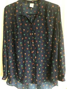 GEORGE SIZE 22 NAVY XMAS PATTERNED SHIRT