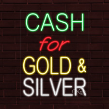 Brand New Cash For Gold Amp Silver 31x24x1 Inch Led Flex Indoor Sign 31267