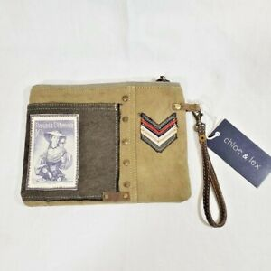 Chloe & Lex Wristlet Pouch Bag NWT Upcycled Canvas Leather Vintage Austria Stamp