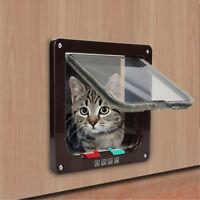 Safe 4 Way S M L Lockable Lock Dog Cat Puppy Pet Flap Screen Door Brushy Frame