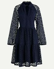 NWT J Crew Tiered A-Line Popover Dress in Embroidered Eyelet Sz L Navy Blue $140