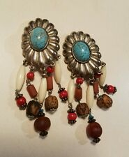 vintage  Ellen Designs dangling clip earrings faux turquoise  and beads d1