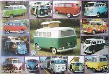 """AUTOS """"VOLKSWAGEN VANS - 14 CLASSICS"""" POSTER -German VW Bus Transporter, Eurovan"""