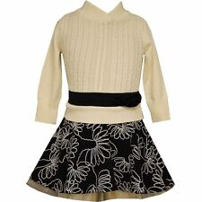Bonnie Jean Girl's Cable Knit Sweater to Floral Drop Waist Dress, Cream/Black, 4