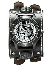 Affliction Top Hat Skull Rock Leather Strap Cuff Mens Watch Black White $275 NEW