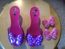 """Pre Owned Girl's Minnie Mouse Plastic Heels with Extra Bows.  Pink.  7"""" long."""